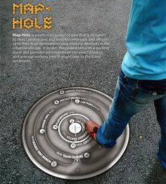 Manhole cover designs / map-hole wayfinding concept