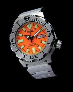 Seiko Monster, Casio Watch, Rolex Watches, Orange, Accessories, Diving Watch, Watch Straps, Sparkle, Knight
