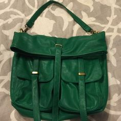 "Colab bright green fold over large purse Love this one. Great green color many pockets outside and in. Only flaw is on handle a bit where is hangs in my closet. 11-12"" folded over not including strap Co-Lab by Christipher Kon Bags Shoulder Bags"