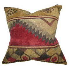 """Pillow with a feather-down fill and Southwestern-inspired motif. Made in Boston, Massachusetts.  Product: PillowConstruction Material: Polyester cover and polyester fillColor: MultiFeatures:  Insert includedHidden zipper closureMade in Boston Dimensions: 18"""" x 18""""Cleaning and Care: Spot clean"""