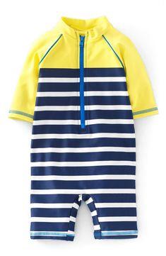 Mini Boden One-Piece Rashguard Swimsuit (Baby Boys & Toddler Boys)