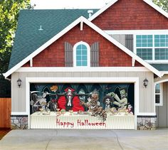 Dracula's Halloween Dinner - Outdoor Halloween Holiday Garage Door Décor *** Check this awesome product by going to the link at the image. (This is an affiliate link) Garage Halloween Party, Halloween Rocks, Halloween Door Decorations, Outdoor Halloween, Halloween Dinner, Halloween Stuff, Outdoor Decorations, Halloween Ideas, Garage Door Update