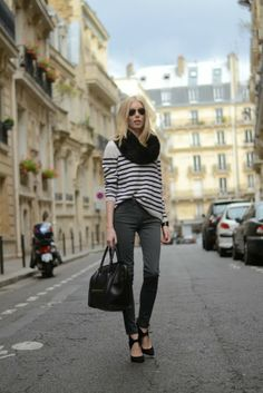 Stripes, black heels, Céline mini luggage