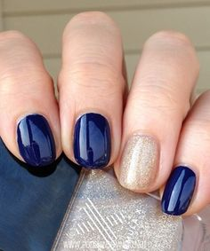 Navy and gold accent nails