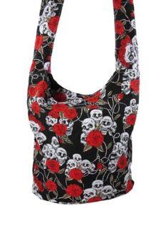 Skulls and Roses Print Nylon Sling Bag Hobo 5ce592295afe5