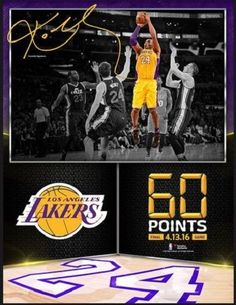 Kobe Bryant Los Angeles Lakers 60 Point Final Game Framed Collage NBA Basketball #Fanatics #LosAngelesLakers