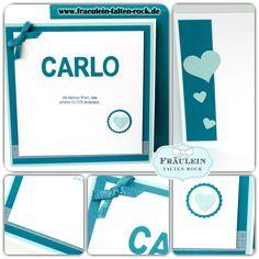 Heute zeige ich euch eine tolle individuelle Karte zur Geburt für einen kleinen Jungen. Sie sollte schlicht und einfach sein, mit dem Namen des neuen Ehrenbürgers aus den Thinlits Beeindruckende Buchstaben.  #stampinup #zurgeburt #geschenk #geburt #baby #babykarte #petrol #einzigartig #boy #herz #karte #liebe
