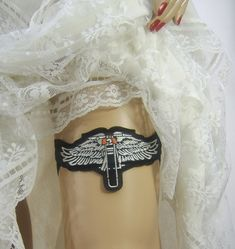 Biker Wedding Garter Motorcycle Lover Black Stretch Lace Lingerie Garter