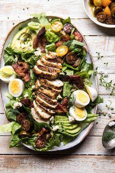 side angle over head photo of Balsamic Grilled Chicken Cobb Salad Green Salad Recipes, Salad Recipes For Dinner, Ensalada Cobb, Cobb Salad, Avocado Salad, Healthy Salads, Healthy Recipes, Meat Recipes, Balsamic Grilled Chicken