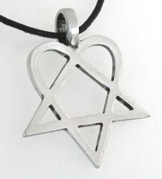 Httpcheunestore necklace pendant jewelry him heartagram httpcheunestore pewter heartagram him pentagram and heart pendant aloadofball Image collections