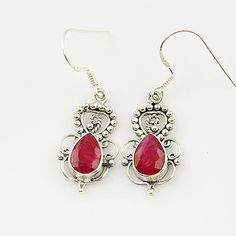 Genuine Ruby Solid Sterling Earrings. Starting at $1 on Tophatter.com!
