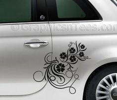 Fiat 500 Car Sticker Custom Side Graphic Decal, Flower Girly Car Sticker