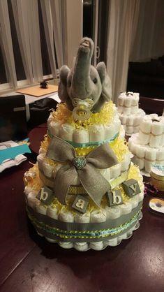 Unisex baby elephant Diaper Cake
