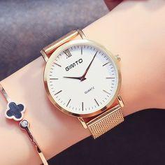 Flash Deals $8.90, Buy 2017 Luxury Brand Women Watch Dress Quartz Watch Steel Gold Bracelet Watch Antique Rome Female Clock Wristwatch Relogio Feminino