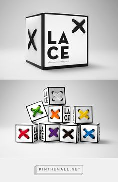 Lace Packaging on Behance by Katie Klasmeier. Project Brief: Using 2''x 2'' cubes, package and brand a product of your choice PD
