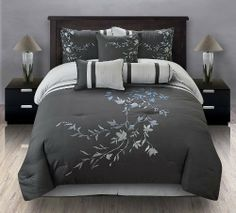 "11 Piece Queen Karissa Embroidered Bed in a Bag Set Black/White by KingLinen. $99.99. This beautiful ensemble features blue and silver grapevine embroidery on black with stripe accent, an eclectic set that will be great any bedroom 3 decorative pillows included.FeaturesSize: QueenColor: Black/White/Silver/Blue100% PolyesterMachine washableThis set includes:1  Comforter (86""x86"")2  Shams (20""x26"")1  Bedskirt(60""x80""+14"")3  Decorative Cushions Plus 300 Thread Count Cotton Sh..."