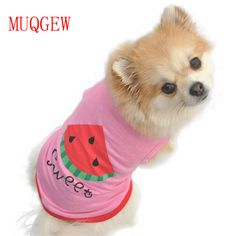MUQGEW Dog clothing brandSummer Dog Vest Small Pet Puppy Cat Lovely Clothes Watermelon Printed Pink Vest 2017 cheap Cute