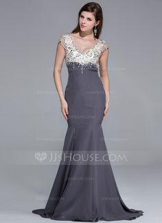 Trumpet/Mermaid V-neck Sweep Train Chiffon Charmeuse Prom Dress With Beading Split Front (018025646) - JJsHouse