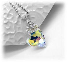 Swarovski heart pendant  Wrapped pendant  by atelierblaauw on Etsy