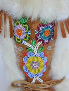 Vintage mukluks - beadwork; bead work, beading; flower