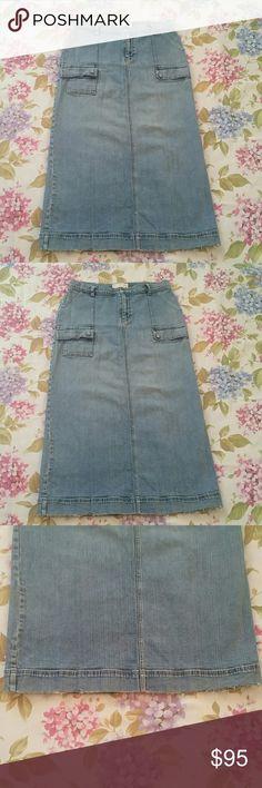 Eddie Bauer long straight blue denim skirt 14 P19. Good condition. soft. gray wash Eddie Bauer Skirts Pencil