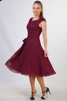 Short burgundy lace dress Short bridesmaid dress by HelensWear
