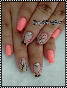 Aycrlic Nails, Neon Nails, Glitter Nails, Fancy Nails, Cute Nails, Basic Nails, Geometric Nail Art, Striped Nails, Fall Nail Designs