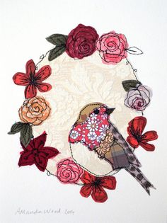 Robin gifts embroidery mothers day robin textile art robin stitched robin framed art robin picture f Freehand Machine Embroidery, Free Motion Embroidery, Rose Embroidery, Free Machine Embroidery, Embroidery Applique, Bird Applique, Applique Quilts, Art Textile, Textile Artists
