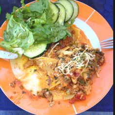 Home made Lasagna, this time bolognesa sauce, spinach and portobello... Yum