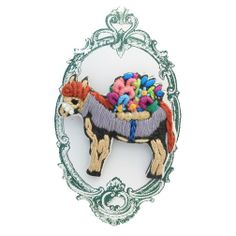 Embroidered Donkey Brooch by Tamao World