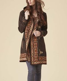 Look at this Aziza Brown Embroidered Hooded Open Cardigan on #zulily today!