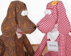 DIY Drop-Ear Dog - Toy / Door-Stop / Home Decoration / Plushie - PDF Sewing Pattern and Tutorial