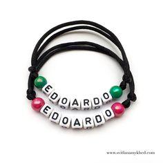 """2 Bracelets prenom nom message logo initiale surnom """"EDOARDO"""" (réversible, personnalisable) homme, femme, enfant, bébé   Fermeture coulissante. Convient à tous les poignets! lettres acryliques 6x6mm sur fil de satin (2 mm.) couleur au choix.  Ce bracelet ne craint pas l'eau.  Vous pouvez toujours le garder sur le poignet (douche, piscine, vaisselles....)  Bracelet est personnalisable!!!"""