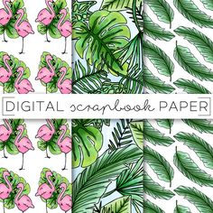 Tropical Foliage Flamingo Digital Scrapbook Paper Pattern Stationary / Palm Frond Doodles / Print Background Instant Download Printable Pink  ••• Tropical Foliage Paper Collection •••  Collection of original, hi-res, digital scrapbooking papers & backgrounds. The perfect tool for artists, designers, scrapbooking, web/blog design and more!!  Use a website (like Picmonkey) to add your own text overlay for your blog photos. Or, use a mobile app (like Phonto) to add a quote or ...