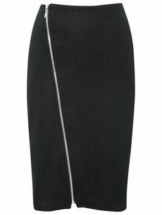 Assymetric zip pencil skirt