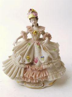 Vtg Antique Dresden Art Sandizell Porcelain Lace Victorian Lady Figurine German | eBay