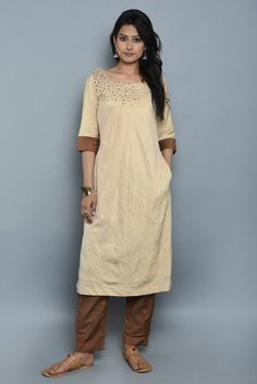 Beige Brown Khadi Cotton Silk Hand Embroidered Kurta