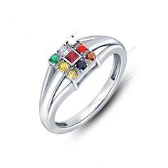 White Gold Finish Navagraha Multicolor stone Navratna Women's Ring (Size: 5-11)…