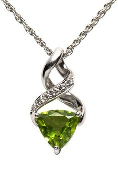 Estate Jewelry Platinum Peridot & Diamond Twirl Necklace #Necklace #jewelry #pricepointshop