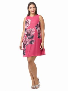 Plus Size TAYLOR DRESSES Shift Dress In Painterly Blossom