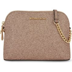 Michael Michael Kors Alex large glitter cross-body bag ($180) ❤ liked on Polyvore featuring bags, handbags, shoulder bags, dome handbags, shoulder strap bags, brown purse, glitter handbags and dome purse
