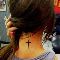 Neck Cross Tattoo