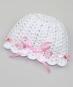 Look at this Pink and Blue Knitwear White & Pink Rosette Crochet Beanie on #zulily today!