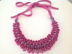 Grosgrain ribbon and hematite beads necklace by MagdaCrafts, £19.00