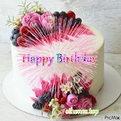 happy birthday wishes Gifs Cakes Happy Birthday - eikones top Happy Birthday Flower Cake, Happy Birthday Flowers Wishes, Birthday Cake Greetings, Birthday Cake Gif, Happy Birthday Greetings Friends, Wish You Happy Birthday, Happy Birthday Wishes Images, Happy Birthday Celebration, Happy Birthday Candles