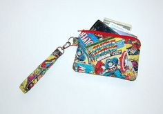 Wristlet Purse with Removable Strap and Interior Pocket - Handcrafted from Marvel Comic Book Superheroes Fabric