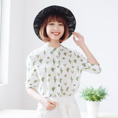 Elbow-Sleeve Cactus Pattern Blouse, Cactus , One Size - Forest Girl | YESSTYLE Back to School SALE at YesStyle.com get up to 60% off! Use coupon BTS10 to get $10 off $99 on your purchase!