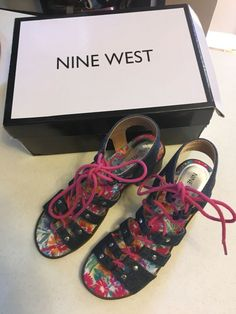 9935bc1d2a70 Nine West Girls Sandals Sz 3 Med High Block Heels Shoes  PINK  Sandals