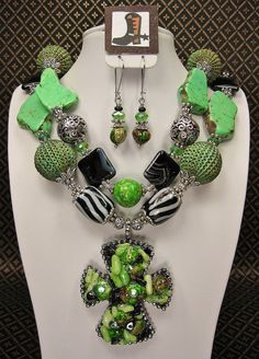 GREEN / ZEBRA COWGIRL Necklace Set with by CayaCowgirlCreations, $65.50