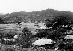 감은사 - 1950년대 북동쪽에서 바라본 모습.